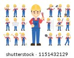 construction worker set. posing ... | Shutterstock . vector #1151432129