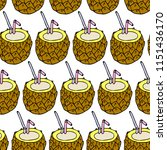 cocktail pineapple illustration. | Shutterstock . vector #1151436170
