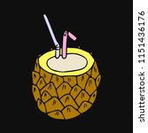 cocktail pineapple illustration. | Shutterstock . vector #1151436176