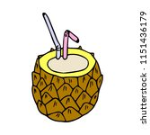 cocktail pineapple illustration. | Shutterstock . vector #1151436179