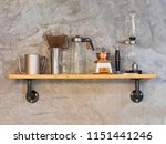 barista equipment on wood shelf ... | Shutterstock . vector #1151441246
