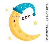 sleeping crescent in nightcap... | Shutterstock .eps vector #1151441846