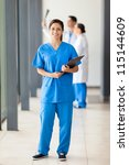 happy young nurse full length... | Shutterstock . vector #115144609