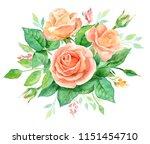 watercolor bouquet of flowers.... | Shutterstock . vector #1151454710