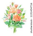 watercolor bouquet of flowers.... | Shutterstock . vector #1151454716