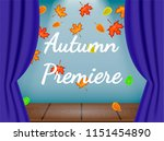 opened blue curtains on the... | Shutterstock .eps vector #1151454890