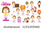 cute little girl character.... | Shutterstock .eps vector #1151455460