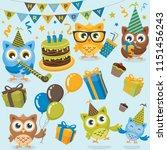 Stock vector owls birthday party boy 1151456243