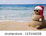 snowman made out of sand.... | Shutterstock . vector #115146028