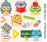 Stock vector back to school owls 1151481686