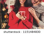 young couple smiles. xmas tree... | Shutterstock . vector #1151484830
