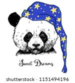 sweet dreams phrase with panda... | Shutterstock .eps vector #1151494196