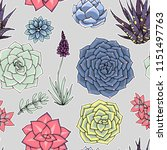 vector succulents seamless... | Shutterstock .eps vector #1151497763