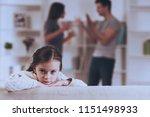 sad little girl with quarrel... | Shutterstock . vector #1151498933