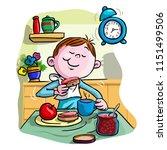 vector illustration  kid eating ... | Shutterstock .eps vector #1151499506