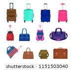 set of suitcases  backpacks and ... | Shutterstock .eps vector #1151503040