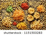 a lot of colorful pasta on a... | Shutterstock . vector #1151503283