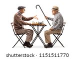 seniors playing a game of chess ... | Shutterstock . vector #1151511770