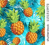 pineapples with palm trees....   Shutterstock .eps vector #1151515973