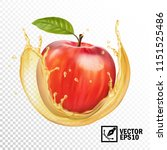 realistic vector apple in a... | Shutterstock .eps vector #1151525486