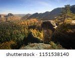 epic sunrise light at the peak... | Shutterstock . vector #1151538140