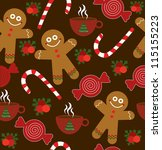 childlike christmas pattern.... | Shutterstock .eps vector #115155223