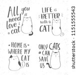 Stock vector hand drawn lettering quotes about cats vector collection with inspirational quotes and cute cats 1151555543