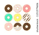 colorful donuts cartoon set.... | Shutterstock .eps vector #1151579606