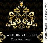 wedding dress design  black and ...   Shutterstock . vector #1151599790