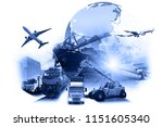 world map with logistic network ... | Shutterstock . vector #1151605340