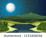 a river landscape at night ... | Shutterstock .eps vector #1151606036