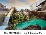 yubatake hotspring at kusatsu... | Shutterstock . vector #1151611250