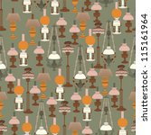 seamless pattern with Vintage Lamps - stock vector