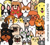 seamless doodle dogs and cats... | Shutterstock .eps vector #1151619740