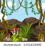 jungle scene with mushrooms... | Shutterstock .eps vector #1151623400