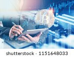 businessman uses tablet with...   Shutterstock . vector #1151648033