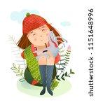 little girl sitting on the... | Shutterstock .eps vector #1151648996