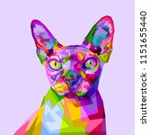 Colorful Sphynx Cat On Pop Art...