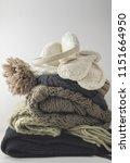 warm woolen knitted winter and... | Shutterstock . vector #1151664950