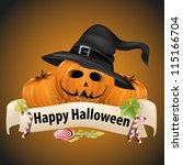 halloween realistic pumpkins... | Shutterstock .eps vector #115166704