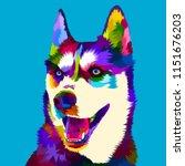siberian husky dog in pop art...   Shutterstock .eps vector #1151676203