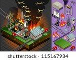 Ilustración detallada de un desastre isométrico del fuego del carbón vegetal - vector stock
