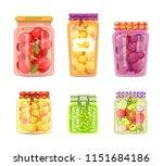 preserved fruit and vegetables... | Shutterstock .eps vector #1151684186