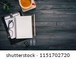 dark wood office desk table...   Shutterstock . vector #1151702720