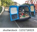 back of blue van with back door ... | Shutterstock . vector #1151718323