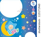 baby boy announcement card.... | Shutterstock .eps vector #115171960