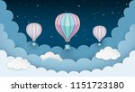 hot air balloons  stars and... | Shutterstock .eps vector #1151723180