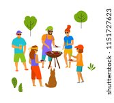 group of people friends at bbq...   Shutterstock .eps vector #1151727623