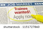 job ad in a newspaper   trainee ... | Shutterstock . vector #1151727860