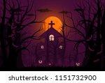 happy halloween background and... | Shutterstock .eps vector #1151732900